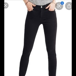 "MADEWELL 9"" high rise skinny jeans in black"